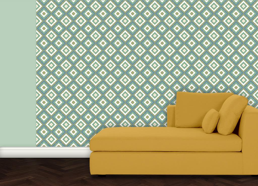 grafische diamant tapete gr n blau mit karo gelb. Black Bedroom Furniture Sets. Home Design Ideas